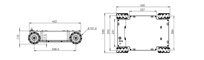 Compass系列机器人平台,是基础型的小型机器人平台,旨在以高的性价比为客户提供一个完整、多接口、高可靠性的移动机器人系统。Compass Q2是四轮45度全向轮轮系的机器人平台,使用航发公司的QMA-10全向轮,与传统轮系相比,能够实现平移、自转、平移并自转等特殊运动。平台底盘采用整体铝合金铸造成型工艺,使用四台大功率的空心杯电机作为驱动,并配有四轴伺服驱动器,支持CAN总线及RS232接口。开发包向用户提供完整的设备通信协议以及基于STM32F407的示例与演示程序源码,使用户能够对Compass